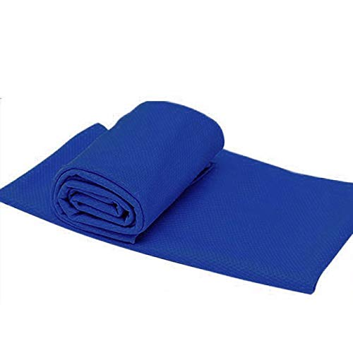 (MTENG Cold Sensation Beach Towel Drying Travel Sports Swiming Bath Body TowelYoga Mat for Running, Crossfit, Cycling, Yoga, Basketball -Moisture Wicking Unisex(Blue,One Size))