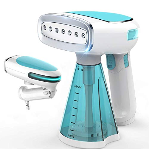 Steamer for Clothes Mini Portable 1200W Powerful Garment Steamer Clothing Handheld Fabric Steam Iron Wrinkle Remover Cleaner Fast Heat-up Auto-Off 100% Safety High Capacity for Home and Travel