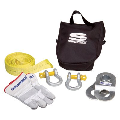 Superwinch 2224 Kit - Large Winch Accessory kit with 20,000 lb HD pulley block, 3'' x 8' Strap, 2 bow shackles, gloves, nylon bag