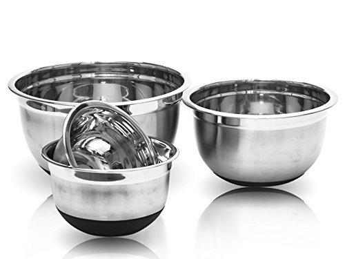 Imperial Home 4pc Stainless Steel Mixing Bowl Set with Non-Skid Silicone Bottoms