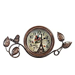 Dannto Vintage Shabby Metal Craft Table Clock with Bird Battery Operated Silent Clock(One Size, Gold)
