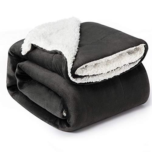 Bedsure Sherpa Fleece Blanket Throw Size Dark Grey Plush Throw Blanket Fuzzy Soft Blanket Microfiber