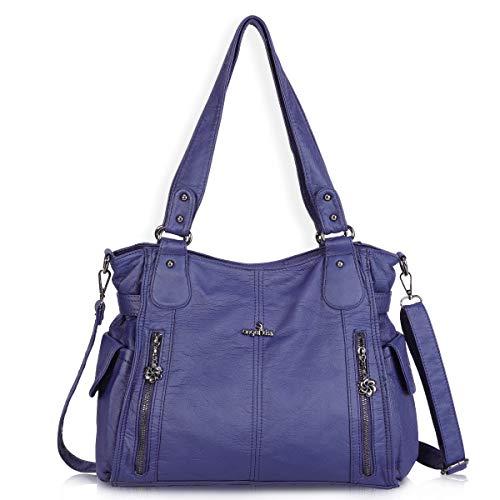 (Women Handbags Shoulder Bags Washed Leather Satchel Tote Bag Mutipocket Purse (1193-2 Blue) )