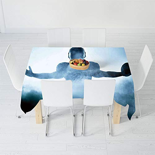 TecBillion Printed Tablecloth,Sport,for Rectangle Table Kitchen Dinning Party,90.2 X 72 Inch,Heroic Shaped Rugby Player Silhouette Shadow Standing