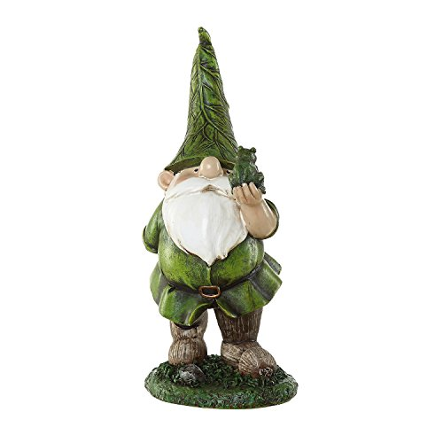 Garden Sculpted Gnome (Ivy Home Resin Outdoor Garden Decorative Statuary,Gnome with Frog)