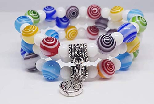 Lampwork Millefiori Glass Beads/Mountain Jade White Round Stone Beads/Metal Tube Drop Beads/Leaf Disc Metal Beaded Bracelet (Set of 3)