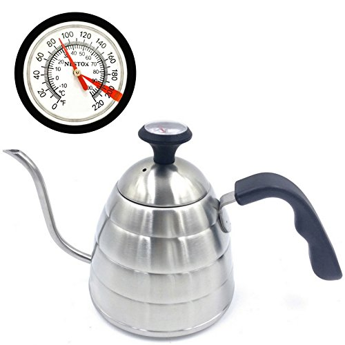 Coffee and Tea Pour Over Kettle with Thermometer 34 oz - Stovetop Long Spout Gooseneck Drip Kettle for Slow Pour Water - Heat Resistant Handle - Stainless Steel Brew Kettle for Making Coffee by Nestox