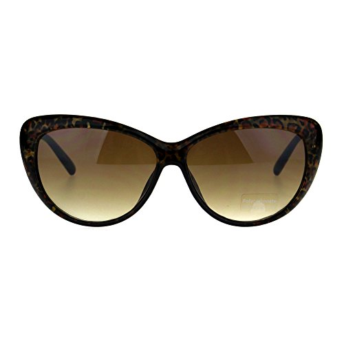 Animal Print Cat Eye Oversize Plastic Womens Sunglasses Gold - Leopard Cat Sunglasses Eye Print
