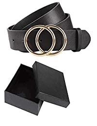 "JTAISC Women Leather Belt for Pants Dress Faux Leather Jeans Waist Belt with Round Buckle (Black, Fit waist from 31.5""-37.5"")"