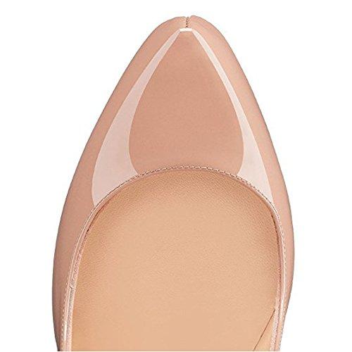 Onlymaker Ladies Open Toe Platform Stiletto Tacco Alto Pompe Pantofole Scarpe Da Sposa Partito Mancanza-nudo