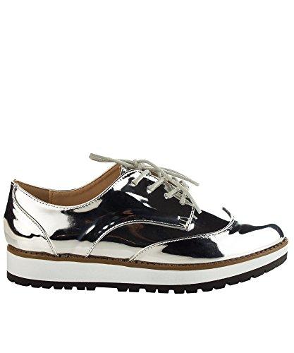 Qupid Womens Fashion Metallic Saddle Shiny Lace Up Flatform Platform Oxford Silver 2paFb5Bu