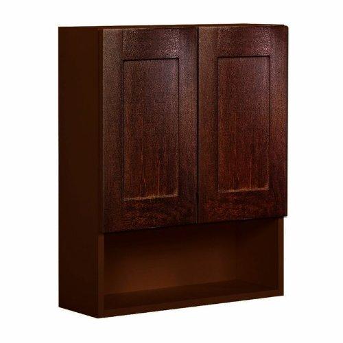 Shaker Panel Door Style Toilet Topper 24'' Wide 9'' Deep 30'' High in a Maple Walnut Finish Model TT24309-SW by Harbor City Millwork