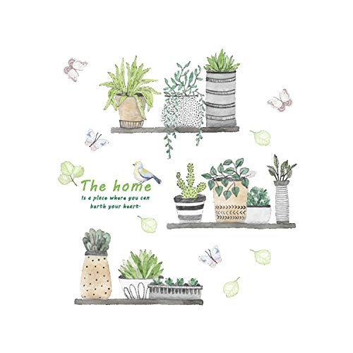 (Dupetoner Cartoon Green Plants Potted Wall Sticker Cactus Butterflies Pastoral Style Wall Decal DIY Vinyl Removable Art Wall Decals for Bedroom Living Room Nursery Room Children's Bedroom Decorations)