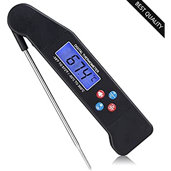 Food Thermometer - Best Digital Meat Thermometer with Talking functions, Electric Cooking thermometer for Kitchen and Outdoor, Instant Read Thermometer(Black)