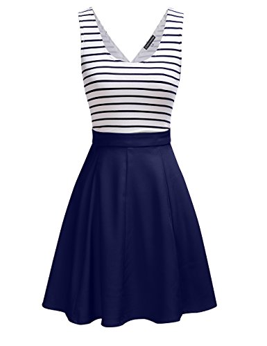 Womens Sexy Open Back Cocktail Slim Black White Striped Mini Dress, Navy, Small (Blue Juniors Dress)