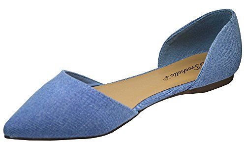 Breckelles Pointed Toe Denim Suede Faux Blue D'orsay Ts Women's Flats rqFwrAC