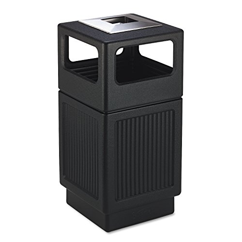 Safco Products 9477BL Canmeleon Recessed Panel Waste Receptacle, Ash Urn, Side Open, 38-Gallon, Black