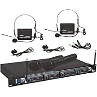 Pyle 4 Channel VHF Wireless Microphone & Rack Mountable...
