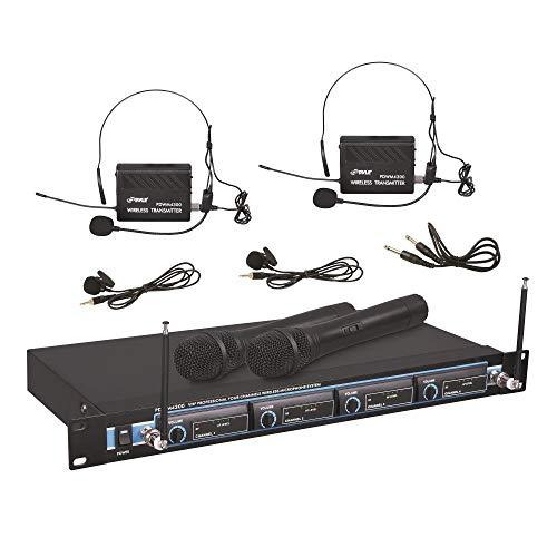 Pyle 4 Channel VHF Wireless Microphone & Rack Mountable Base 2 Handheld MIC, 2 Headset, 2 Belt Pack, 2 Lavelier/Lapel MIC w/ Volume Controls AF & RF Signal Indicators (Renewed) ()