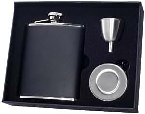 "Visol ""Ano"" Leather Stellar Flask Gift Set, 6-Ounce, Black"
