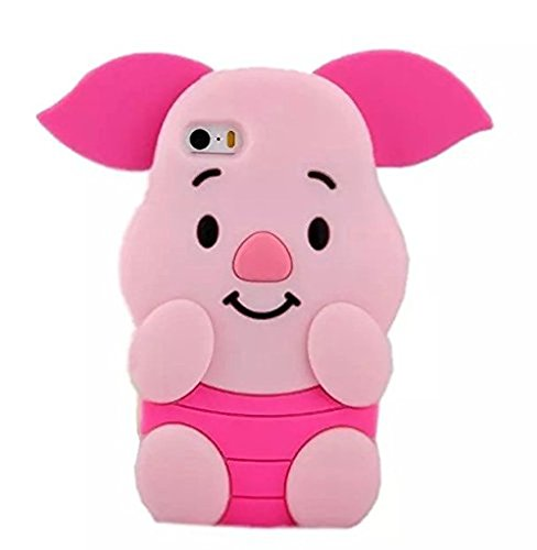 Silicone Case With Neck Strap for iPhone5 / iPhone5s / iPhone SE 3D Cartoon Cute Lovely Gift for Girls Teens Kids (Pink (Cute Girl Cartoon Characters)