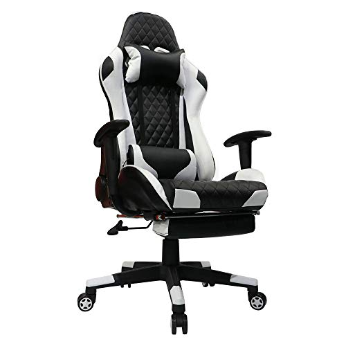Cheap Kinsal Gaming Chair with Footrest Racing Style High-Back PU Leather Office Chair Computer Desk Chair Executive and Ergonomic Style Swivel Chair Including Headrest and Massage Lumbar Support (White)