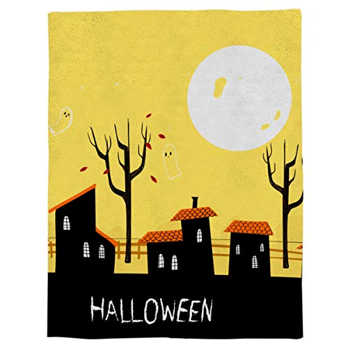 OUR WINGS Halloween Ghost Town Lightweight Bed Blankets Super Soft Flannel Throw Blanket Warm Fuzzy Microfiber All-Season Blankets for Kids 39x49 inch ()