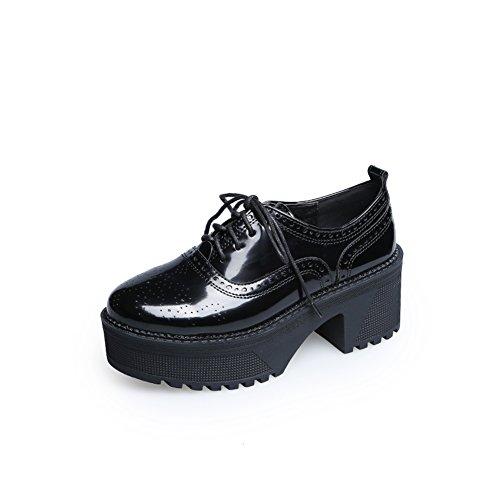 talla rugoso Plataforma Cuero Primavera Con zapatos Otoño Gruesa tacones zapatos De Y cordón Nude suela imprimir A ETvn7w8qgv