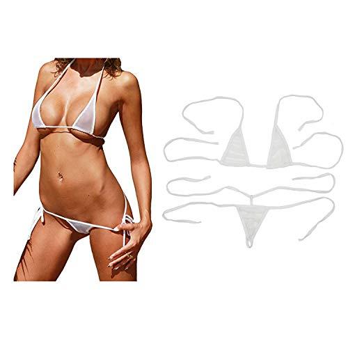 - Motanar Women's Sheer Extreme Bikini Halterneck Top and Tie Sides Micro Thong Sets (White)