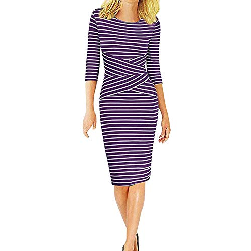 (MODOQO Women's Three Quarter Sleeve Striped Work Dress Crewneck Bodycon Pencil Dresses(Purple,M))