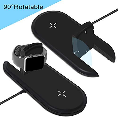 CETECK 2 in 1 kabelloses Ladegerät Kompatibel für iWatch/iPhone, Kabelloses Ladegerät Qi Schnelle kabellose Ladestation Kompatibel für Apple Watch Series 4/3/2/1 iPhone XS/Max/XR/X / 8 Plus / 8