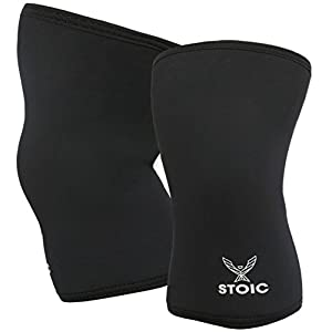 Performance 7MM Knee Sleeves for Powerlifting, Bodybuilding, Weight Lifting - Professional Quality & Ultra Heavy Duty (Pair) by Stoic (Black, X-Large (42.5-45 CM))