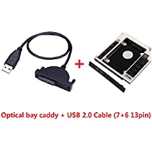 """Deyoung 2nd HDD SSD Hard Drive Caddy for iMac 21"""" 24"""" 27"""" Late 2009 2010 2011 2012 2013 2014 SuperDrive + USB 2.0 Cable"""