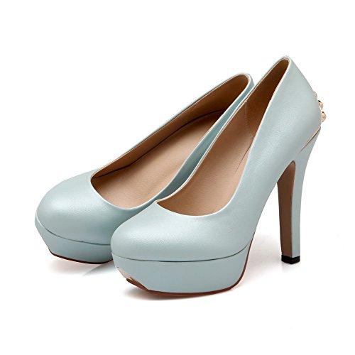 Amoonyfashion Femmes Tirer Sur Les Pointes Stilettos Pu Solide Ronde Fermé Orteils Pompes Chaussures Bleu