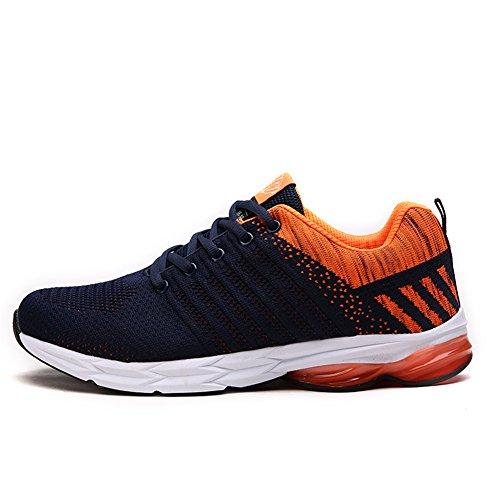 Chaussures De Course Pour Hommes Fexkean Sport Respirant Gymnase Baskets Running Loisir Orange