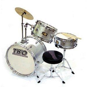 TKO 99TKO99MS 3-Piece Junior Drum Set, Metallic Silver