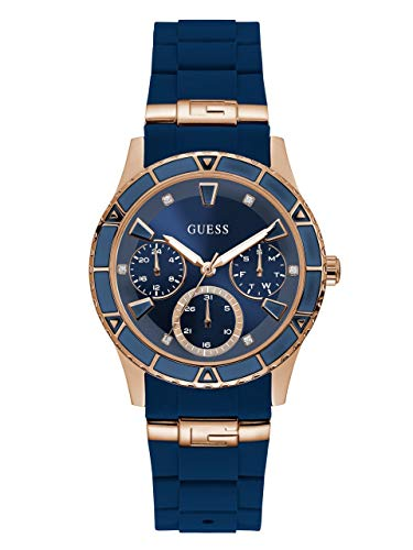 GUESS  Rose Gold-Tone + Iconic Blue Stain Resistant Silicone Watch with Day, Date + 24 Hour Military/Int'l Time. Color: Blue (Model: ()