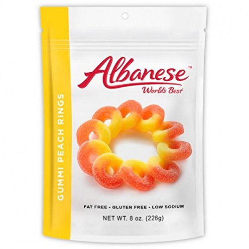 Albanese World's Best Gummi Peach Rings Resealable Stand Up Pouch 8 oz. (226g) -