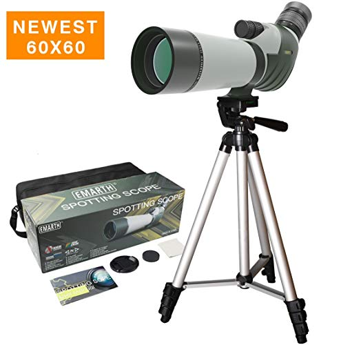 Review FEEMIC Newest 20-60x60 Waterproof Spotting Scope with Tripod, 45-Degree Angled Big Eyepiece(2...