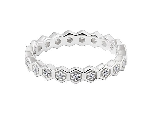 Chamilia Authentic Pure Honey Sterling Silver Band with White Swarovski Zirconia, Size 7-1125-0353