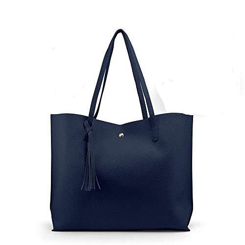 Navy Blue Women Leather Handbag Shoulder Ladies Purse Messenger Satchel Crossbody Tote Bag