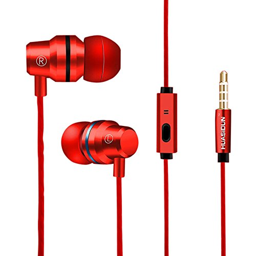 KaiCran New Metal Stereo Headphone Bass Earphone Sport Headset Hands Free Earbuds With Mic (Red) by KaiCran (Image #1)