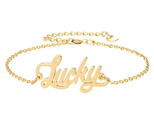 (HUAN XUN Lucky Name Bracelet for Womens Girls Jewelry Gifts Stainless Steel)