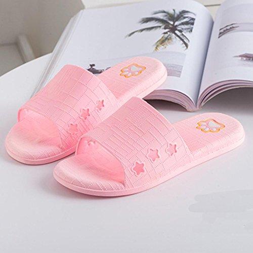 Clode® Männer Lattice Flat Bad Hausschuhe Sommer Sandalen Indoor & Outdoor Hausschuhe (36, Rosa)