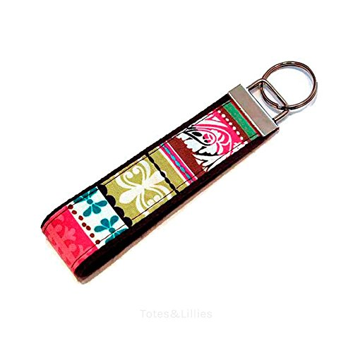 Multi Jewel Tone Stripes Fabric Key Fob Free Shipping - Jewel Tone Stripes