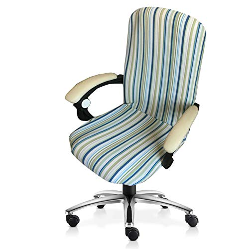 MOCAA Computer Office High Back Large Chair Covers Stretchable Polyester Washable Rotating Chair Slipcovers,ONLY Chair Covers M006 (Green Stripe) (Stripe Office Chair)