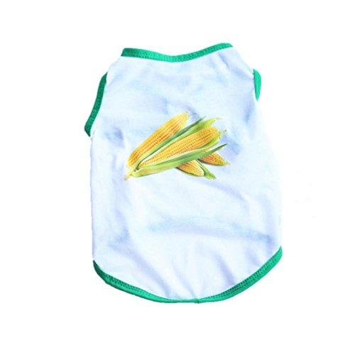 Clearance Puppy Vest, OOEOO Pet Top Corn Shirt Small Dog Cat Clothes Tank T Shirt Apparel (Corn, M)