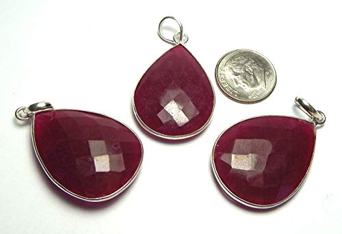 Ruby Sterling Silver 30mm Faceted Teardrop Pendant Bead /r12