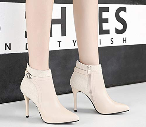 Beige En Femme Club Bottines Boots Epissage Métal Sexy Aisun Low Décor xvqYfT1YS