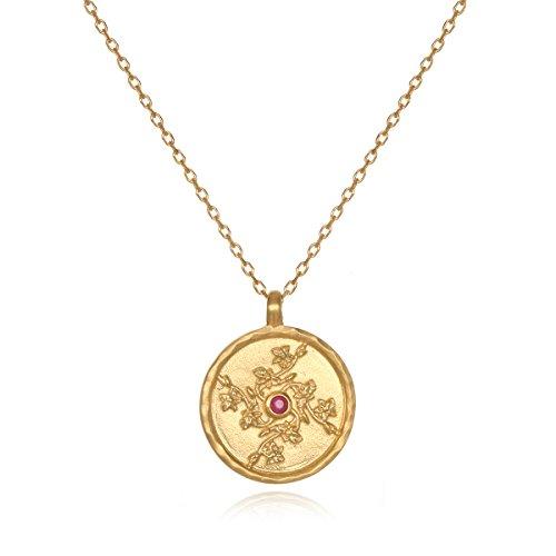 Ruby Flower Pendant - Satya Jewelry Ruby Gold Plate Larkspur July Flower Birthstone (18-Inch) Pendant Necklace
